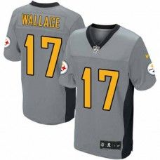 0a733b6b2 NFL Mens Elite Nike Pittsburgh Steelers  17 Mike Wallace Shadow Grey Jersey  White Jersey