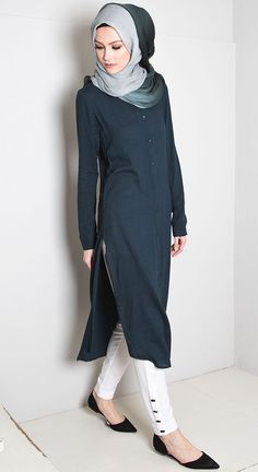 Islamic fashion-Shirt D resses Islamic Fashion, Muslim Fashion, Modest Fashion, Trendy Fashion, Fashion Outfits, Fashion Ideas, Vintage Fashion, Hijab Outfit, Hijab Dress