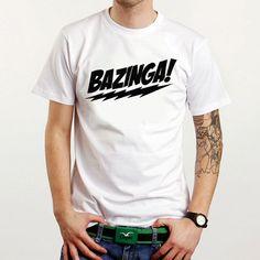 New BAZINGA! The Big Bang Theory  Custom White T-Shirt Tee All Size XS-XXL