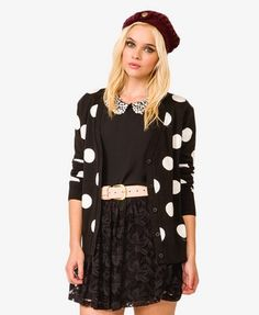 I want this cardi!! Longline Polka Dot Cardigan | FOREVER 21 - 2040496208