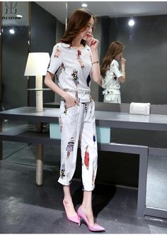 Aliexpress.com : Buy Fashion Girl Pattern Women Pant Suits Black Casual Short Sleeve High Waist Pants White O neck Business Office Two piece Suits from Reliable suit outerwear suppliers on JYJ STUDIO | Alibaba Group Pantsuits For Women, T Shirt And Shorts, Girl Fashion, Womens Fashion, Outfit Sets, Casual Shorts, Clothes For Women, Pant Suits, Jyj