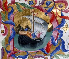 Detail of an historiated initial 'P' of Dante setting sail for Purgatory, by Priamo della Quercia, from Dante Alighieri's Divina Commedia, Italy (Tuscany or Siena?), between 1444 and c. 1450, Yates Thompson 36, f. 65