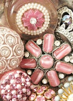 Sparkly vintage rhinestone buttons in pink