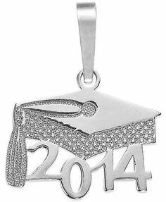 2014 Graduation Cap Pendant in 14k White Gold