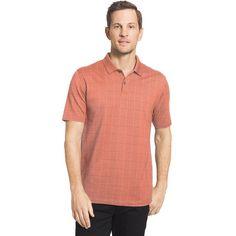 Big & Tall Van Heusen Flex Stretch Windowpane Polo, Men's, Size: 2XL Long, Orange Oth