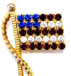 Vintage-Signed RAFAELIAN-Brooch-Pin-American Flag Pin-USA flag pin-Accessory-Small Flag Pin-Patriotic Flag Gold Tone Pin