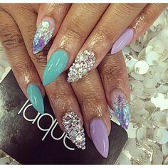 Mermaid purple blue glitter rhinestones almond nail art