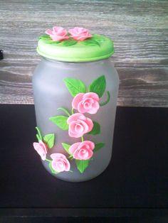 Pote de vidro decorado com Biscuit por Vanessa Tayline