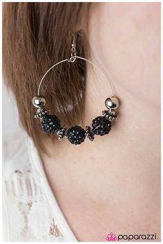 Paparazzi I Can Take A Compliment Black Earrings. Shop these and more at http://paparazziaccessories.com/34123 Vintage-inspired beads and light-catching black rhinestone covered spheres are threaded along a thin silver hoop.