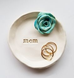 Mothers Day Gift Ceramic Trinket Dish Jewelry Dish Gift In Stock With Rose Available In Your Colors Jewelry Dish, Jewelry Gifts, Work This Out, Perfect Mother's Day Gift, Friendship Gifts, Ceramic Jewelry, Mother Day Gifts, Wedding Gifts, Mothers