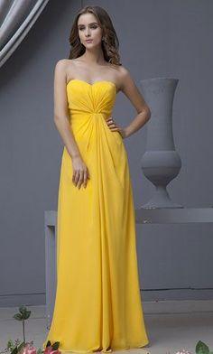long yellow bridesmaid dresses Love this Yellow!!