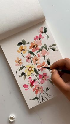Learn to paint florals with me on my youtube channel, follow the link! Art by Manushree Mishra, The Whimsical Creative Watercolor Art Lessons, Watercolor Painting Techniques, Watercolor Drawing, Floral Watercolor, Watercolor Paintings, Floral Paintings, Art Floral, Watercolours, Watercolor Flowers Tutorial