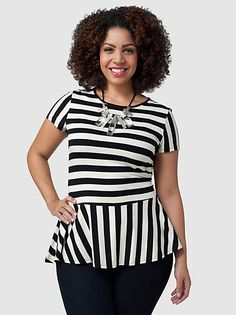 Gwennie Bee // black and white striped peplum top