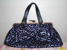 ROCK REBEL Leather Punk Purple & Black Cheetah Purse Doctor Style Hand Bag…