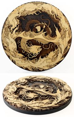 Sea Serpent Laser cutter wood art – this design is very complex, but I could imagine doing some fun and less intricate wood cutouts. Laser Cut Plywood, Laser Cutting, Plywood Panels, Plywood Art, Gravure Laser, Superflat, Laser Cutter Projects, Wood Artwork, Sea Serpent
