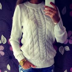 Twist Sweater Casual Jumper Loose Crew Neck Long Sleeve Solid Color Knitted Pullover - Shops Hive