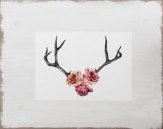 Stag Antler Print -- Floral Rose Watercolour Flower Illustration // Limited Edition Romantic Art by BecciMaryanne on Etsy https://www.etsy.com/listing/164809180/stag-antler-print-floral-rose