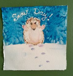A personal favorite from my Etsy shop https://www.etsy.com/listing/490037262/hedgehog-mini-watercolor-45square-snow