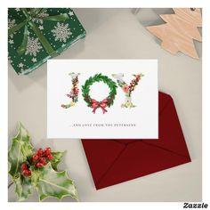 Christmas joy simple elegant traditional holiday card