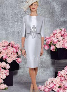 Etui-Linie U-Ausschnitt Knielang Perlenstickerei Applikationen Spitze Satin Reißverschluss Reguläre Träger Ärmellos Ja Silber Frühling Herbst Übliche Kleid für die Brautmutter