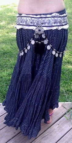 Silver Bellydance Belt and Headband Costume Dance Tribal Fusion. $225.00, via Etsy.