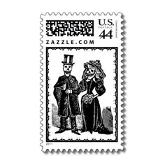 A skeletal couple dressed in their wedding finery is featured on these spooky fun Halloween wedding postage stamps.  Your guests will be screaming with delight!