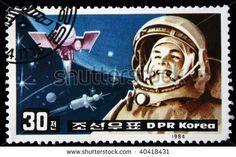 DPR KOREA - CIRCA 1984: A stamp printed by DPR KOREA (North Korea) shows Yuri Gagarin, circa 1984