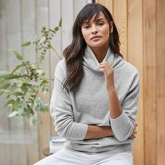 Compact Funnel Neck Jumper Jumper Outfit, The White Company, Funnel Neck, Hoodies, Sweatshirts, Clothes For Sale, Turtle Neck, Slim, Sleeves