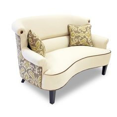 @Overstock - This chic and expressive loveseat represents the spirit of modern adaptability. Featuring the latest iKat fabric on the outside back and a gently curving design, this loveseat is worthy of any elegant home.  http://www.overstock.com/Home-Garden/iKat-Cream-Curved-Back-Loveseat/7522248/product.html?CID=214117 $999.99