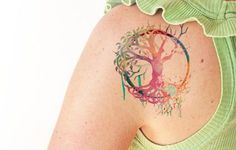 Árbol de la vida acuarela Tatuajes temporales