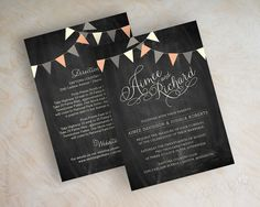 Country chic chalkboard wedding invitations, bunting wedding invitations, coral and gray, blackboard wedding invitation, by appleberryink, $1.00 www.appleberryink.com