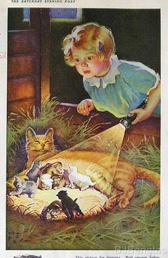 """1933 Frances Tipton Hunter  """"Nine Lives"""" Eveready Batteries Ad"""
