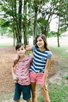 beeca7e2c93 Girls and boys preppy summer fashion. Nautical t-shirts with colorful  shorts.