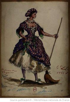 Nérine, Mlle Ottolini    [Les jumeaux de Bergame : vingt maquettes de costumes / par le comte Lepic] Auteur : Lepic, Ludovic Napoléon (1839-1889). Dessinateur Date d'édition : 1885-1886