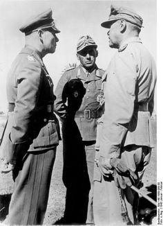 Field Marshal Erwin Rommel, Lieutenant General Fritz Bayerlein, and Field Marshal Albert Kesselring in North Africa, Jan-Feb 1943.