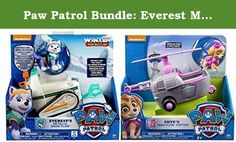 Paw Patrol Bundle: Everest Metalllic Snowmobile with Figure & Skye's 'Copter with Figure. Paw Patrol 4 Piece Bundle includes exclusive METALLIC Everest Rescue Snow Plow with Everest figure and Skye's High Flyin' 'Copter with Skye Figure;Everest saves the day with her Snow Plow with moving claws on the front to clear the road!;Everest rides inside the Snow Plow pushing through the snow with no problem at all;Skye's High Flyin' Copter features extendable wings, real working wheels, and a...
