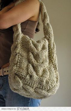 Soul of a Vagabond - classic cable knitted shoulder bag…