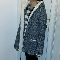 ZARA Knit Jacket Super cute! Purchased last year, i am size small but I wear it as oversize. This is like in between a cardigan/jacket. I don't know how to call it.  Only flaw is one of the button (refer to pic 3) it fell off but I tied it back.  Condition is 6/10 please ask questions! Zara Jackets & Coats