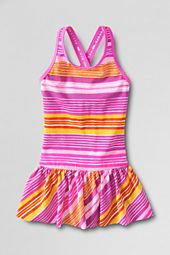 Girls' Beach Basic Pattern Skirted One Piece Swimsuit