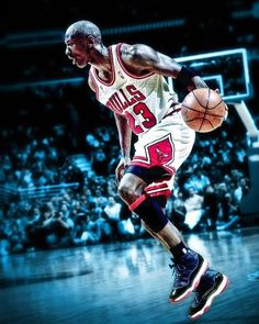 "His ""Airness"" Michael Jordan.  About to do his thang!"