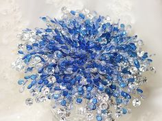 Wedding Flowers  Bridal Bouquet of Beautiful Blue and Silver beads by Bridal Bouquets by Ky - Fabulous Brooch Bouquet Alternative