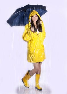 Yellow PVC Hooded Raincoat outfit :)