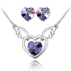 Silver Amethyst Purple Love Heart Party Set Made With Swarovski Crystal N294XE5