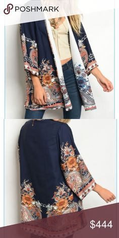 *Coming Soon* Navy Reversible Kimono 100% polyester.  Sizing will be small/medium and medium/large.  Measurements and additional photos will be added upon arrival.  Can't wait for this beauty!  Perfect for fall and warmer days  TAGS: #boutique #kimono #boho #bohochic #ootd #navyblue Sweaters Cardigans