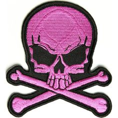 Pink Skull Patch measures inches and is Embroidered in Black / Pink. The Small Patch can be sewn on or ironed on. Features plastic backing and embroidered die cut borders. Biker Patches, Iron On Patches, Skull Patches, Pink Skull, Thing 1, Clothing Patches, Skull Design, Skull And Crossbones, Skull And Bones