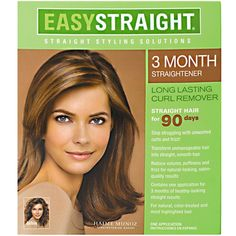 SP-00001 ZOTOS EASY STRAIGHT 3 MONTH STRAIGHTENER The Easy Straight 3 Month Straightener relaxes even the most stubborn curls and frizz in under 1 hour. This unique thio-based formula penetrates the hair cuticle to internally restructure curly hair for lasting, natural-looking straight results. Special conditioners protect color-treated and highlighted hair. For the hassle of daily straightening and wake up to straight, frizz-free, manageable hair every day for the next 3 months!