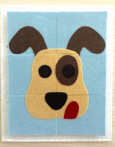 6 Piece Dog Puzzle Quiet Book Page - Quiet Book by KicksAndGrins on Etsy