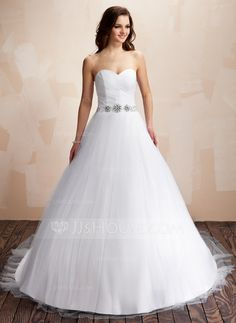 Wedding Dresses - $189.99 - Ball-Gown Sweetheart Chapel Train Satin Tulle Wedding Dress With Ruffle Beading (002011706) http://jjshouse.com/Ball-Gown-Sweetheart-Chapel-Train-Satin-Tulle-Wedding-Dress-With-Ruffle-Beading-002011706-g11706