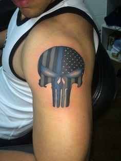 Law enforcement punisher skull Tattoo done by Ricky Garza in victoria tx. Got ink?  X-treme ink tattoos