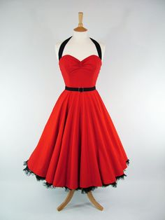 MADE TO MEASURE Red & Black 100% Cotton Boned Full Skirt Dress with Detachable Straps and Handmade Belt -Custom Size-